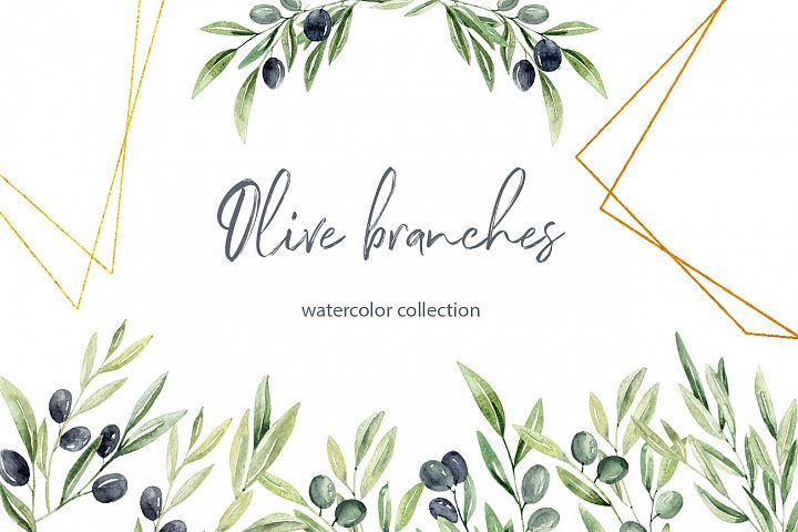 Watercolor Olive branches clipart Geometric Frames