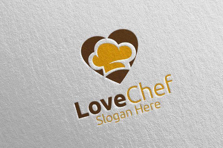 Love Chef Food Logo for Restaurant or Cafe 24
