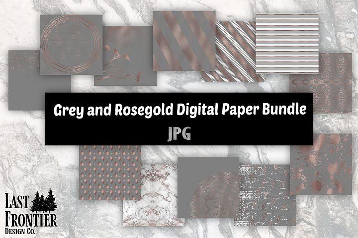 Grey and Rosegold Digital Paper Bundle