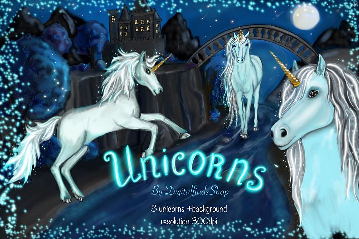 Unicorn clipart, fairy clipart, magic unicorn face clipart