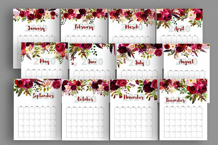 2020 Burgundy Marsala Flowers Calendar Printable, Watercolor
