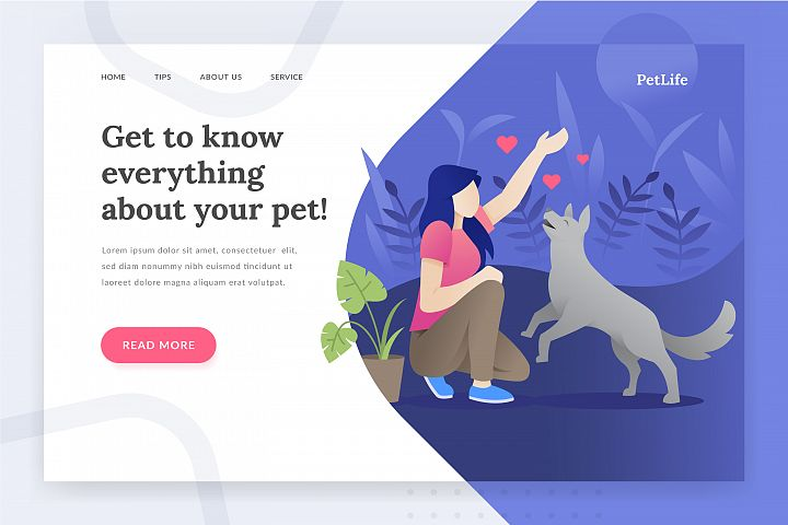 Pet life - landing page illustration