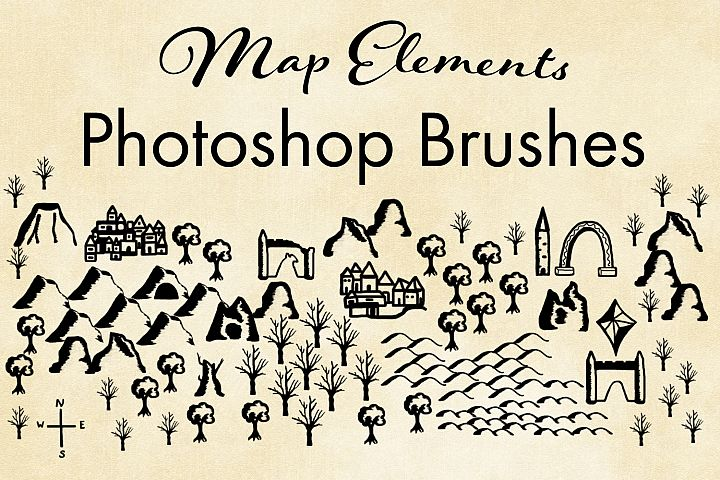 Map Elements Photoshop Brushes - Cartography Brushes