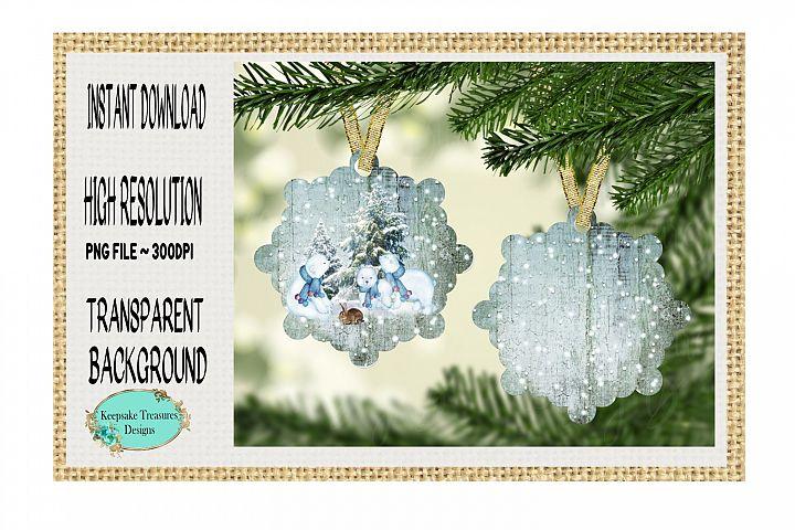 Snow Bear Family, Snowflake Ornament