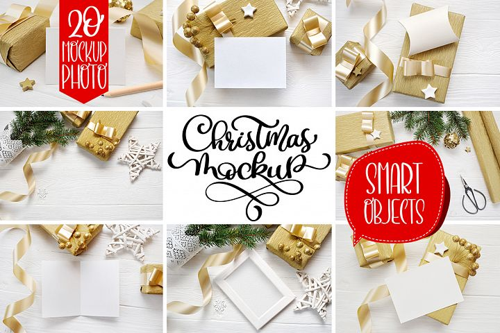 Christmas background mockup with smart object