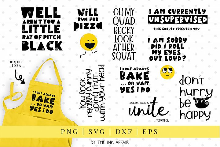 9 Funny and Witty Quotes - SVG Bundle