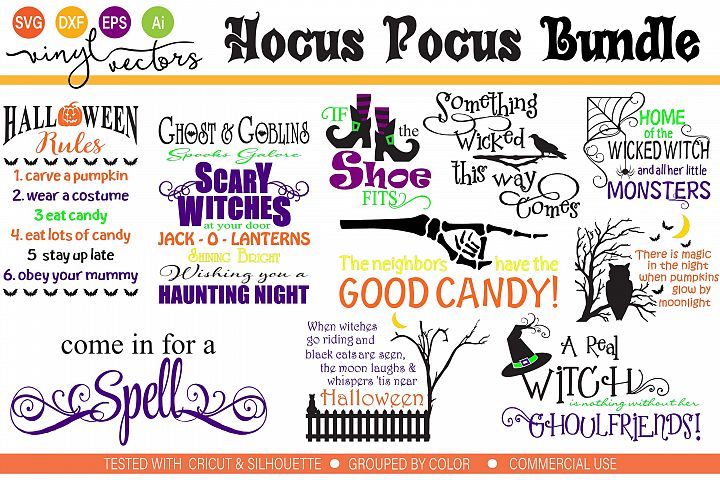 Hocus Pocus Halloween Bundle SVG DXF cut ready files
