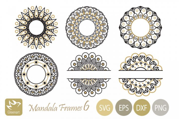 Monogram Mandala Frames Bundle in gold and black colors
