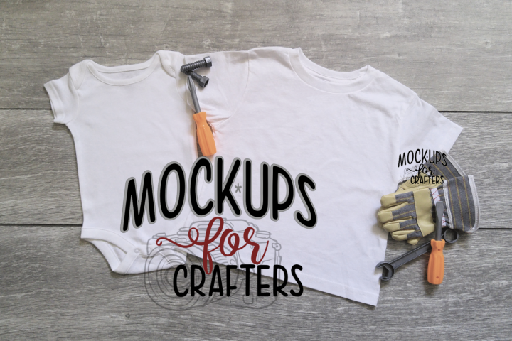 MOCK-UP Baby 1pc & childs tshirt - DOLLARAMA TOOLS/GLOVES
