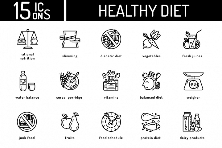 15 Healthy Diet Icons