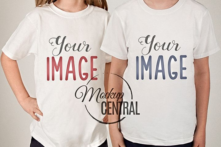 Childrens Matching White T-Shirt Mockup, Sibling Mock Up