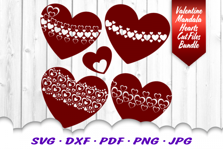 Valentine Mandala SVG DXF Cut Files Bundle