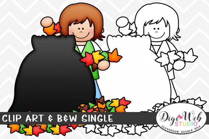 Clip Art & B&W Single - Girl Putting Leaves in A Trash Bag