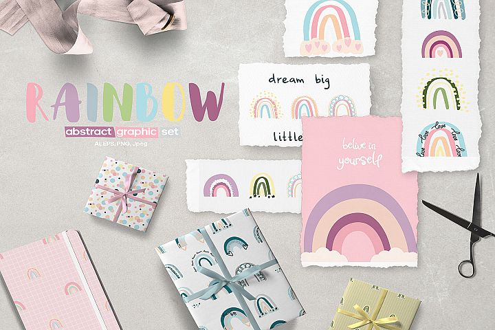 PASTEL RAINBOW. Abstract Graphic Set