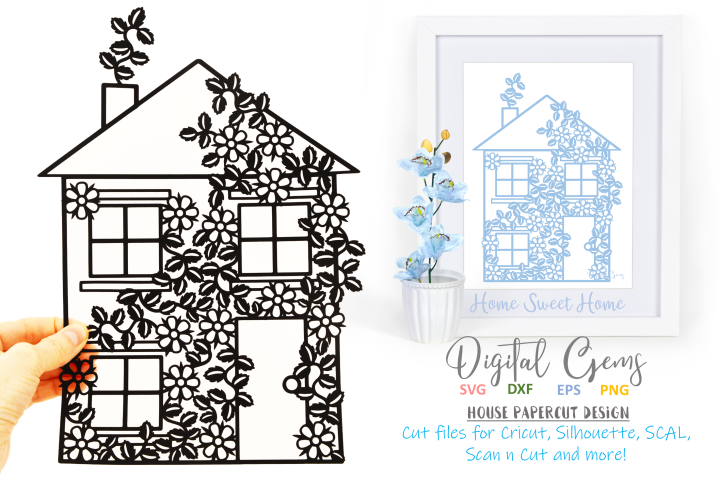 House paper cut design SVG / DXF / PNG