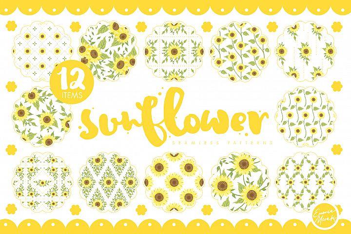 Sunflower Seamless Patterns