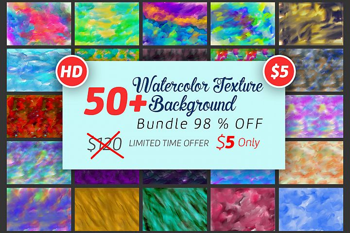 50 Watercolor Backgrounds Bundle