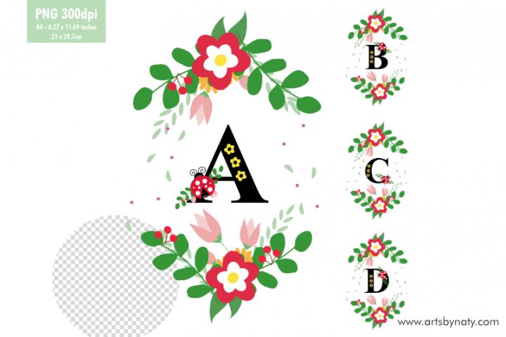 Letters ABCD monogram Ladybug illustration.