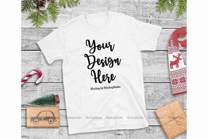 White Christmas Tshirt Mockup Flat Lay Holiday Shirt Display