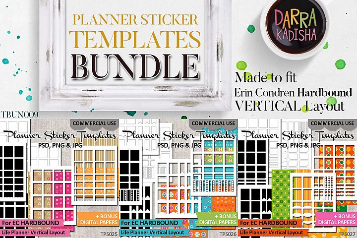 Templates Bundle Vol. 9 - EC Hardbound Planner Stickers