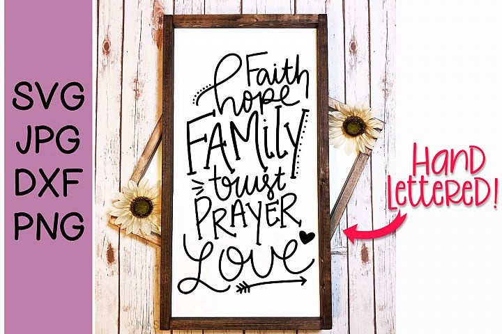 Family Words, Handlettered, SVG for crafters