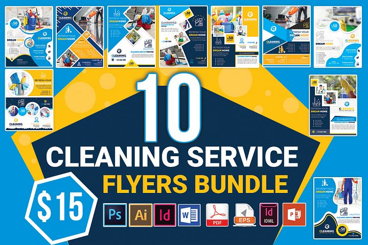 10 Cleaning Service Flyers Bundle