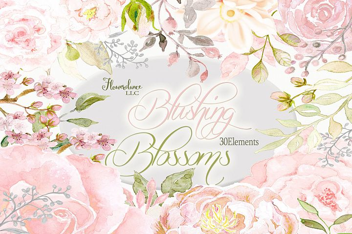 Blush roses watercolor clipart with peonies and florals