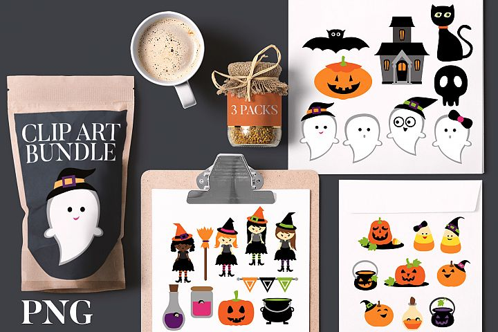 Halloween clip art bundle - witch, ghost, pumpkin