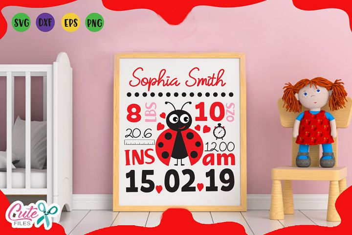 Baby Birth Announcement Template ladybug for girls