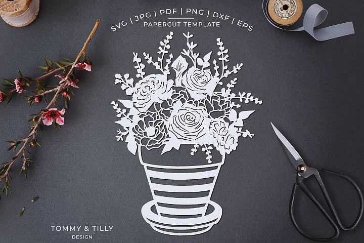 Romantic Floral Plant Pot - Papercut Template SVG JPG PNG
