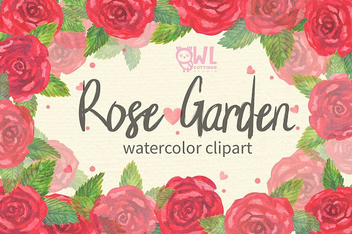 Rose Garden Watercolor Clipart
