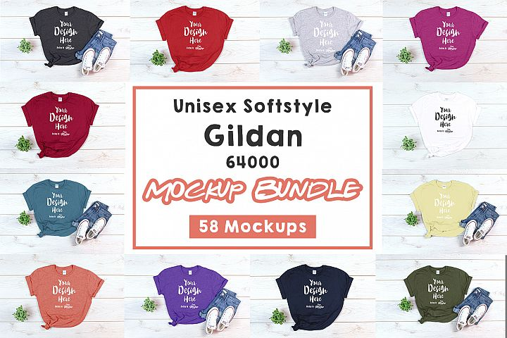 Gildan 64000 T Shirt Mockup Bundle