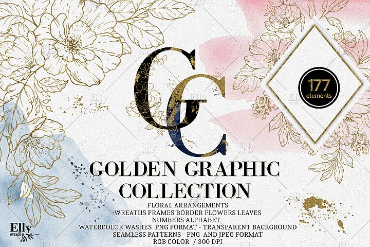 Golden Floral Graphic Collection