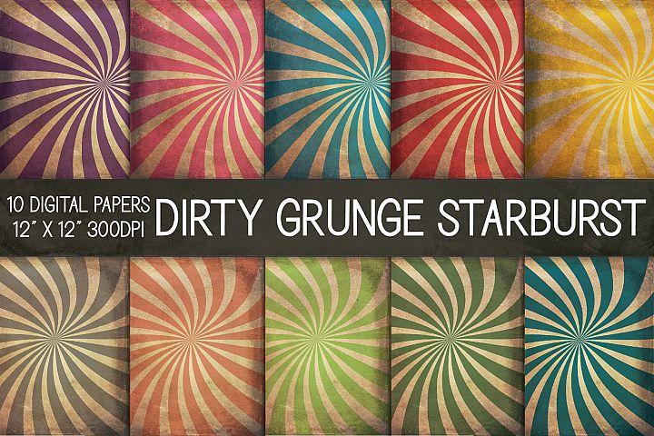 Dirty Grunge Starburst Digital Papers, Grunge Texture Paper