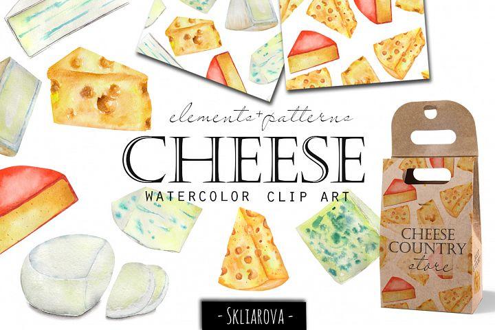 Cheese. Watercolor clip art.