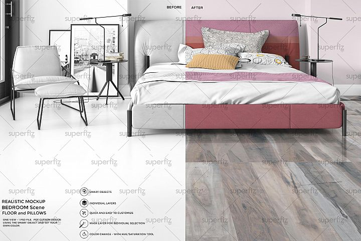 Bedroom PSD Mockup to change the floor surface SM1