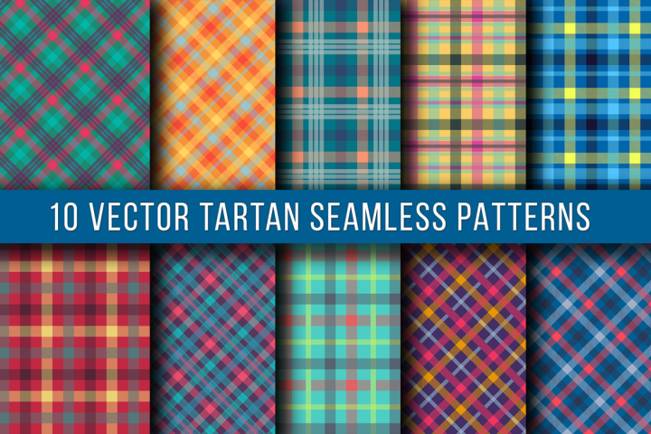 10 Vector Tartan Seamless Patterns