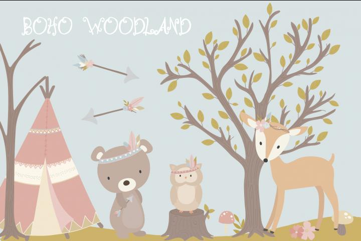 Boho woodland clipart