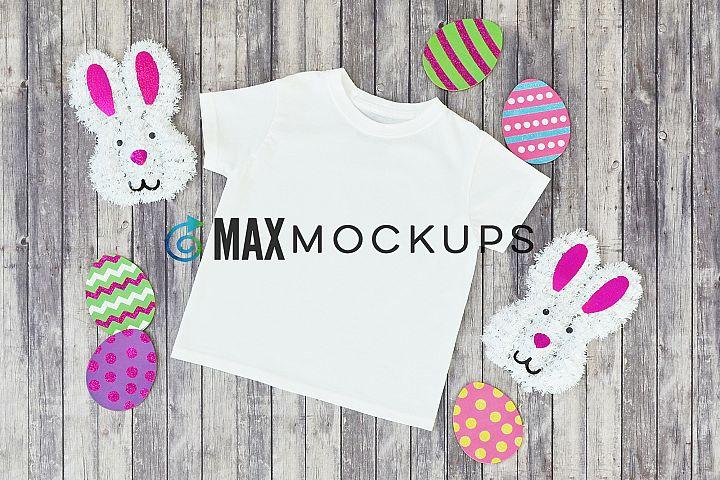 Kid shirt Easter mockup, eggs bunny, boy girl, flatlay