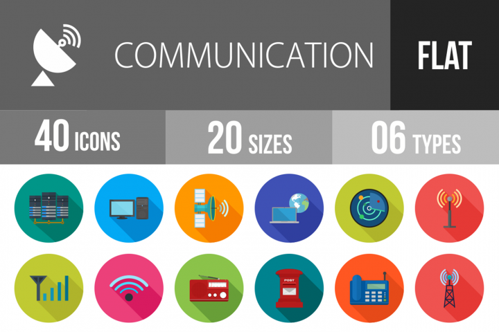 40 Communication Flat Long Shadow Icons