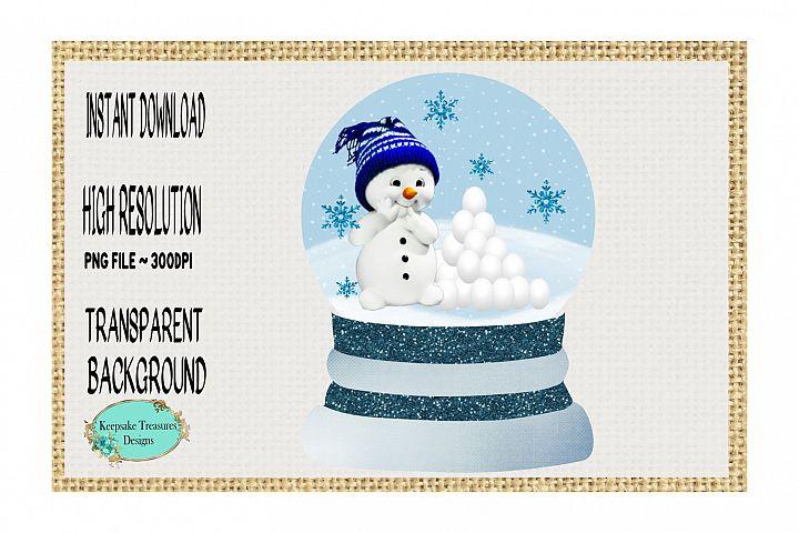 Chubby Snowman, Snowglobe Ornament Template