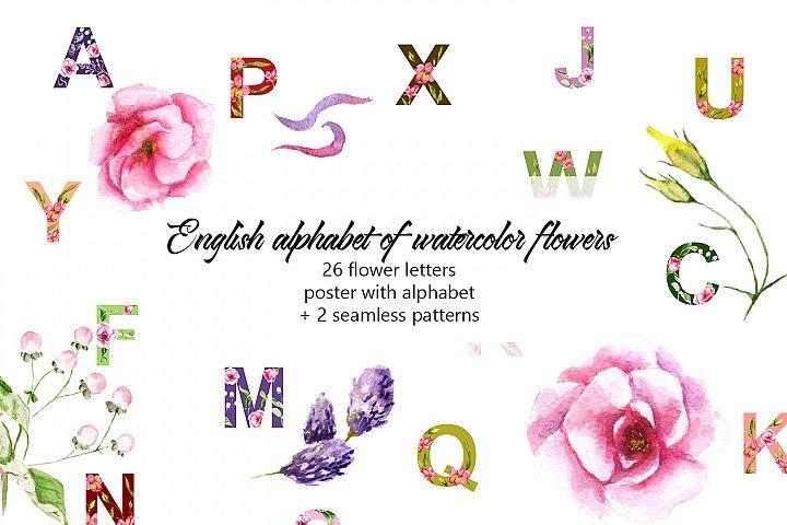 Alphabet of watercolor flowers