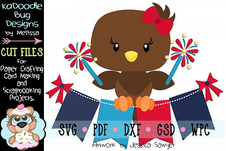 4th of July Sparkler Eagle Cut File - SVG PDF DXF GSD WPC