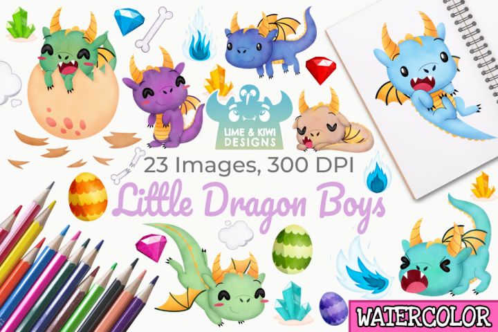 Little Dragon Boys Watercolor Clipart, Instant Download