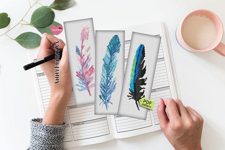 Feather cross stitch pattern Bookmark Cross Stitch