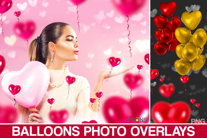 40 Heart balloons photo overlays, valentines Photoshop