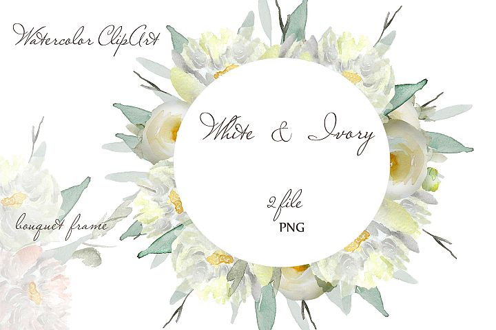 Watercolor flower wreath clipart Ivory white floral