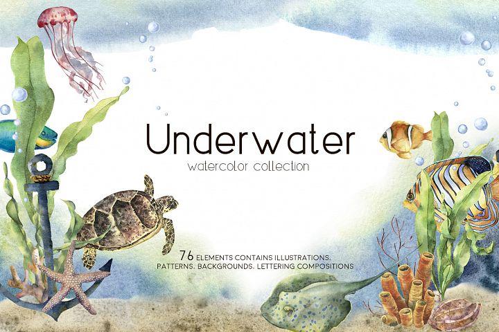 Underwater. Watercolor clip art