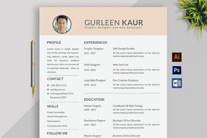 Professional Cv Resume Bonus business card Word/PSD,AI