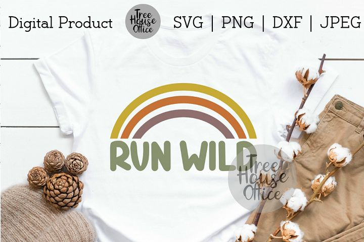 Run Wild, Free Spirit, Retro Rainbow, Stay Wild SVG PNG JPG